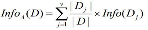 Informasi yang diperlukan (setelah menggunakan A untuk membagi D menjadi partisi v) untuk mengklasifikasikan D