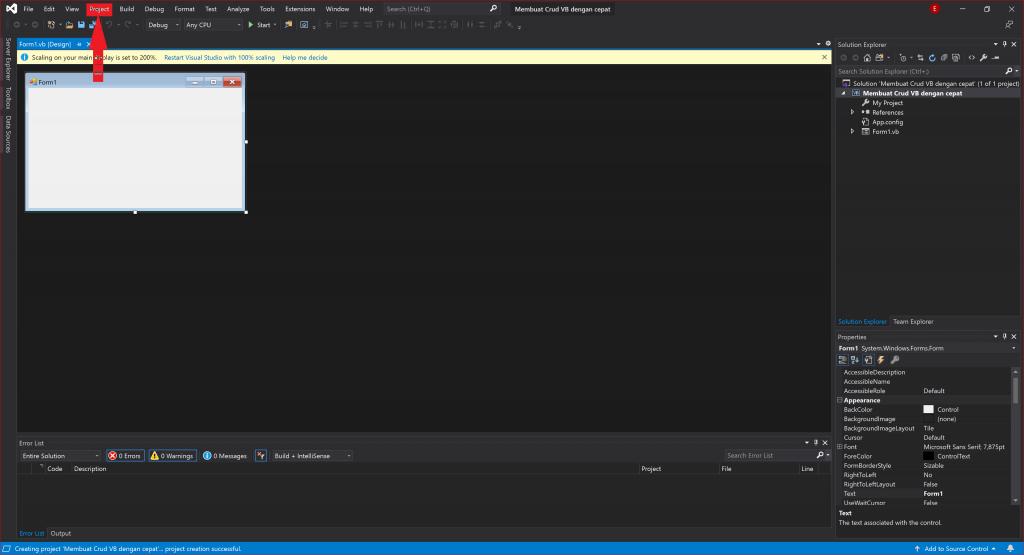 menklik menu project pada visual studio