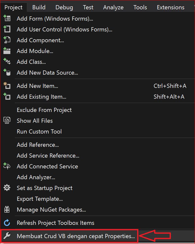 menu project pada visual studio