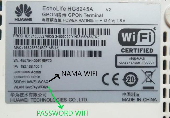 Belakang Modem Huawei HG8245A