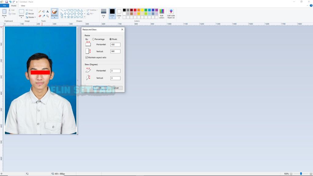 mengecilkan ukuran foto di Aplikasi Paint