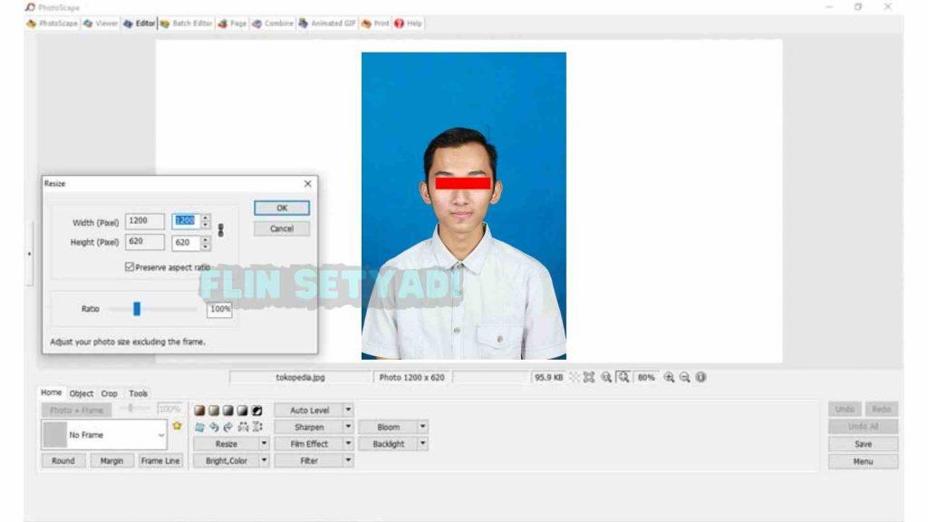 mengecilkan ukuran foto di Aplikasi Photoscape