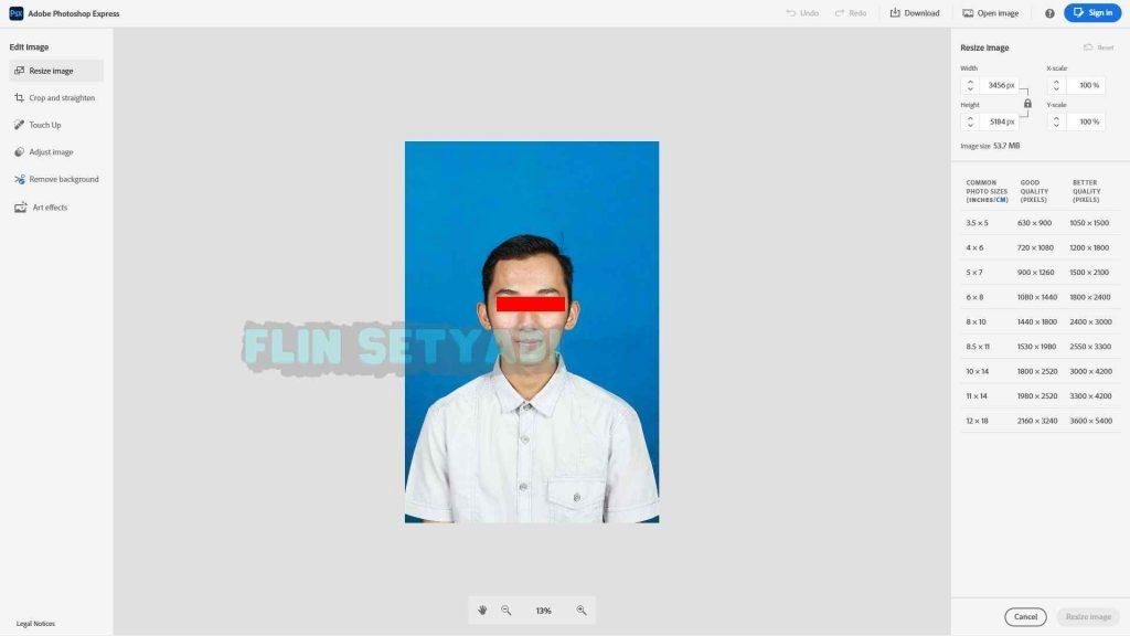 contoh Cara Edit Ukuran Foto di Adobe Photoshop Express