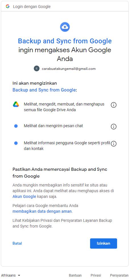 Cara Memasang Google Drive di Laptop - Izinkan akun Google