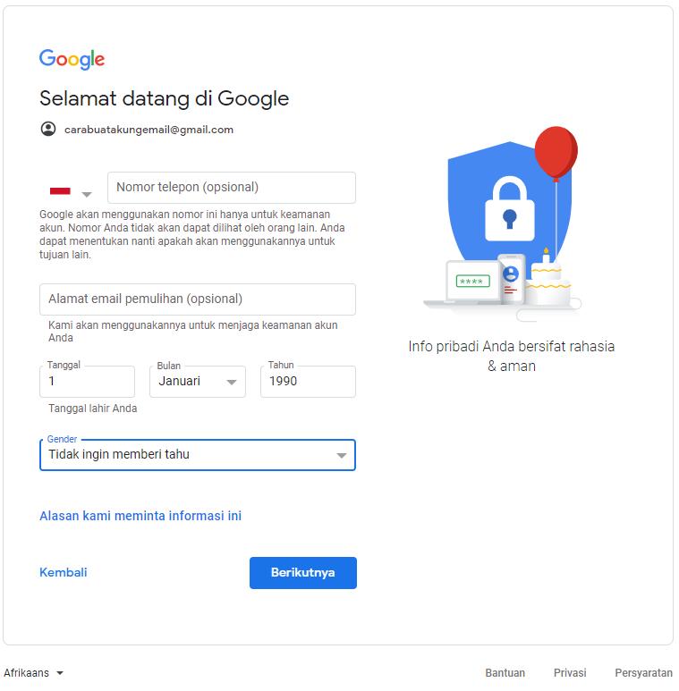 Laman Buat Akun Google 2