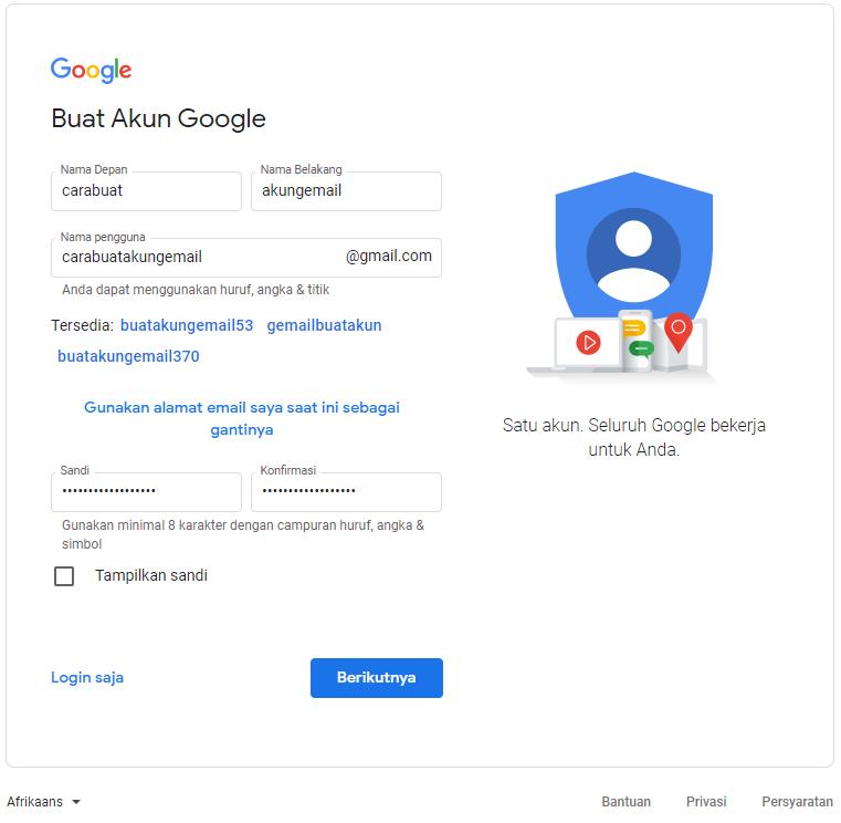 Laman Buat Akun Google