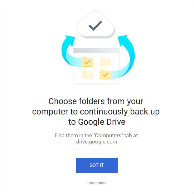 Pilih folder di komputer untuk Google Drive