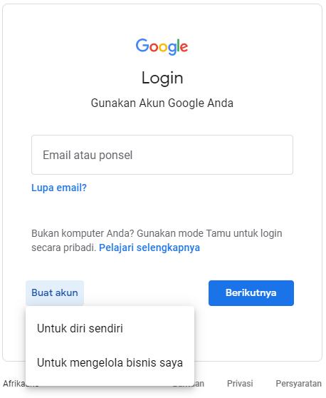 buat akun gmail untuk diri sendiri